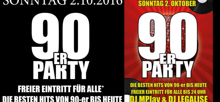 SONNTAG 2.10.2016 – 90-er PARTY
