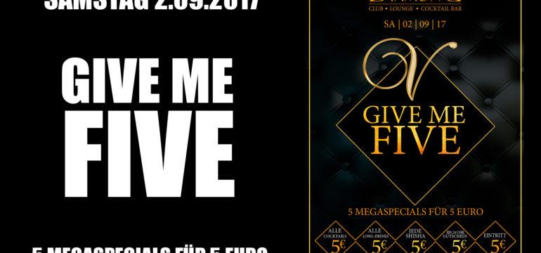 SA. 2.09.2017 – GIVE ME FIVE