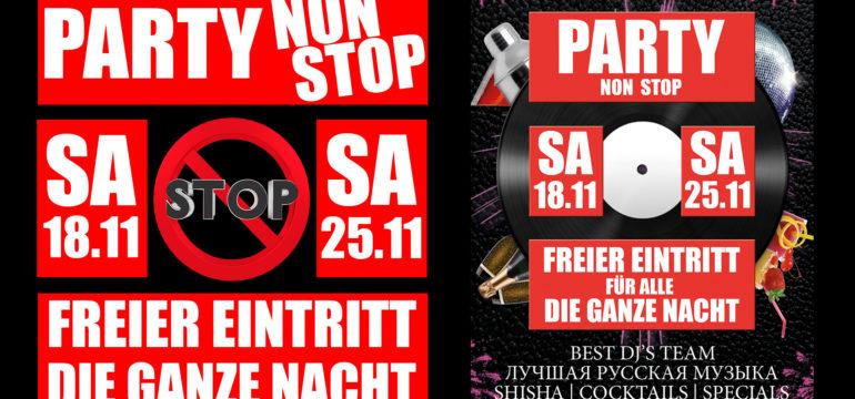 SA. 18.11.2017 + SA. 25.11.2017 – NON STOP PARTY